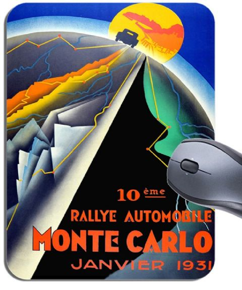 Monte Carlo Rally Vintage 1931 Car Race Poster Mouse Mat. High Quality Mouse Pad
